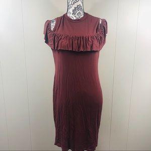 Burnt Sienna Cold Shoulder Dress Size Size Medium